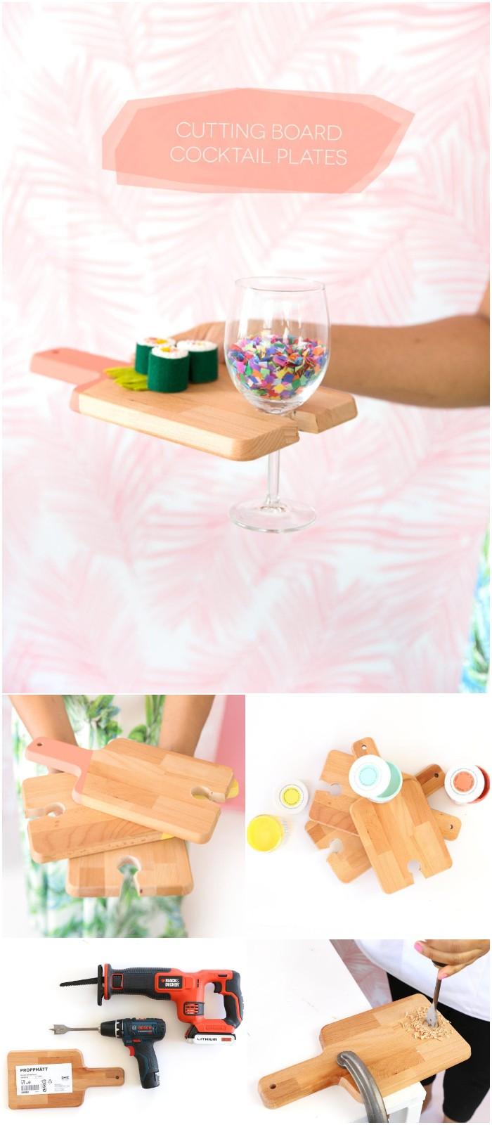 DIY Cutting Board Cocktail Plates