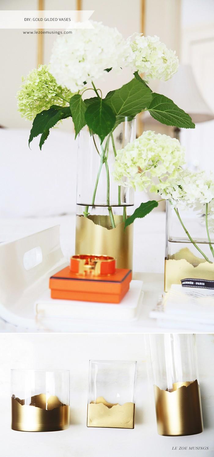 DIY: Gold Gilded Vases