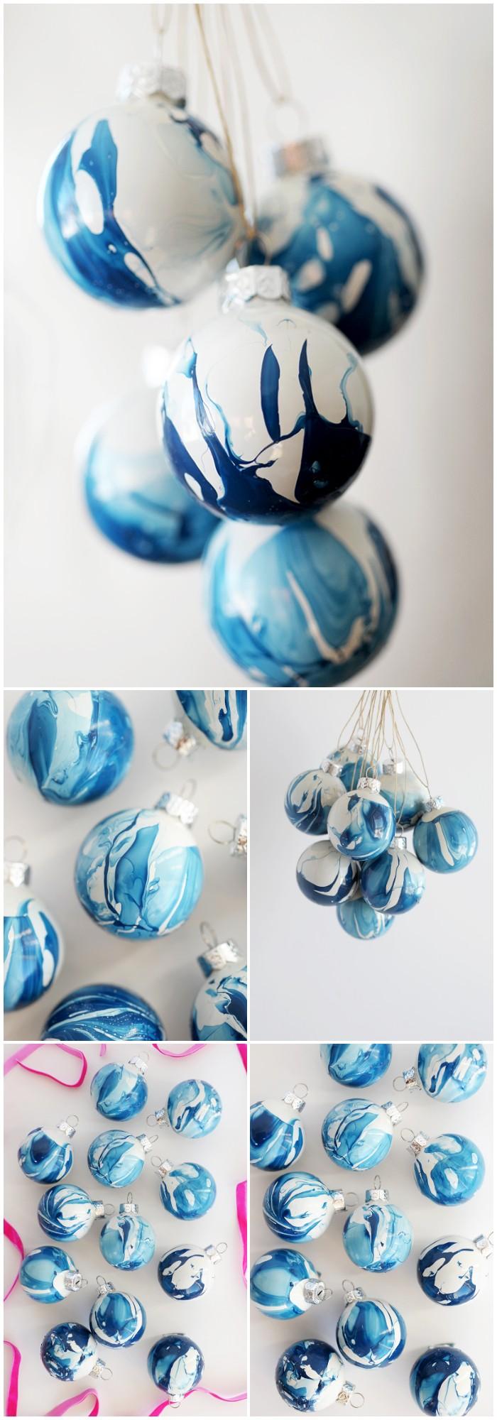 DIY Indigo Marbled Ornaments