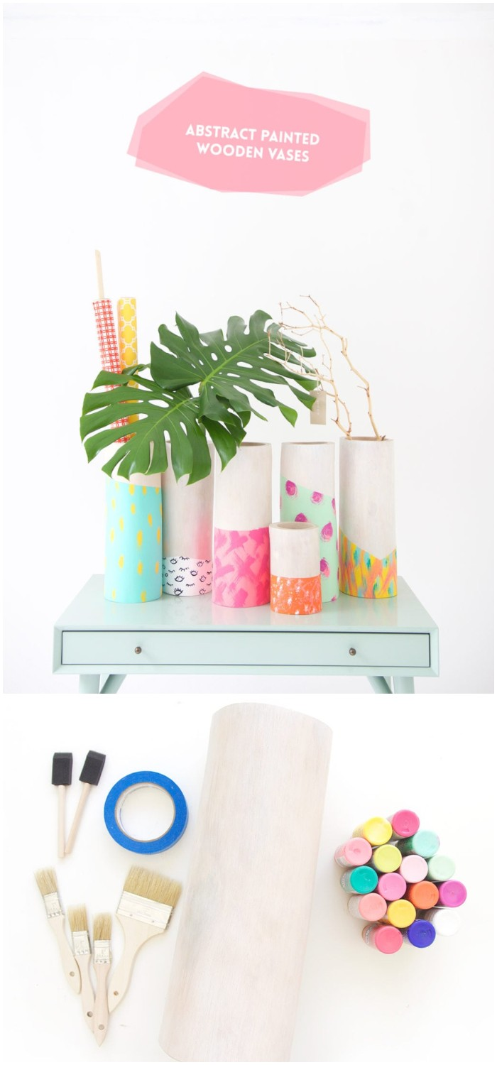 DIY Painted Wooden Vases