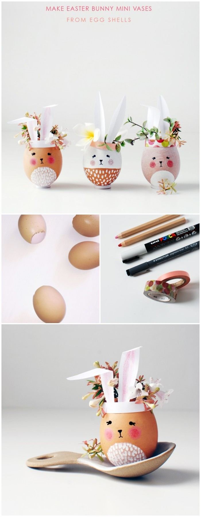 Make adorable Easter Bunny mini vases from eggshells