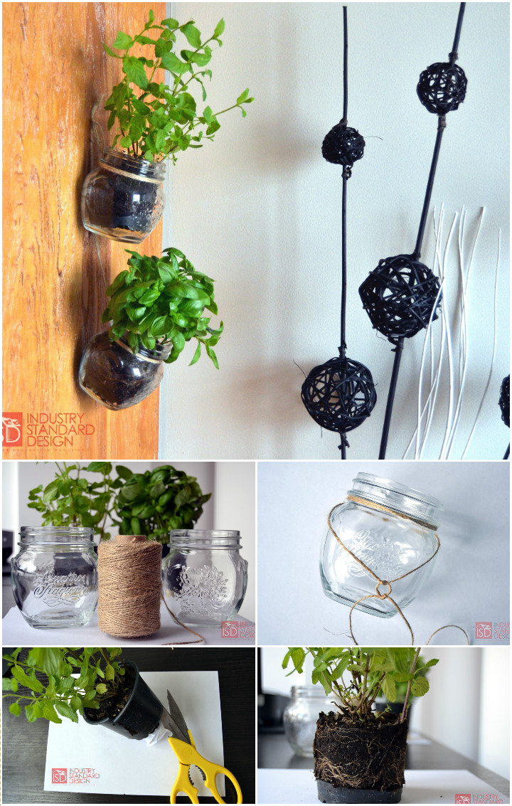 Cool Hanging Mason Jar Herb Garden Cheap DIY Projects for Home Decor