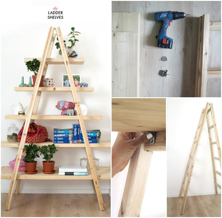 Cool Ladder Shelves Cheap DIY Projects for Home Decor