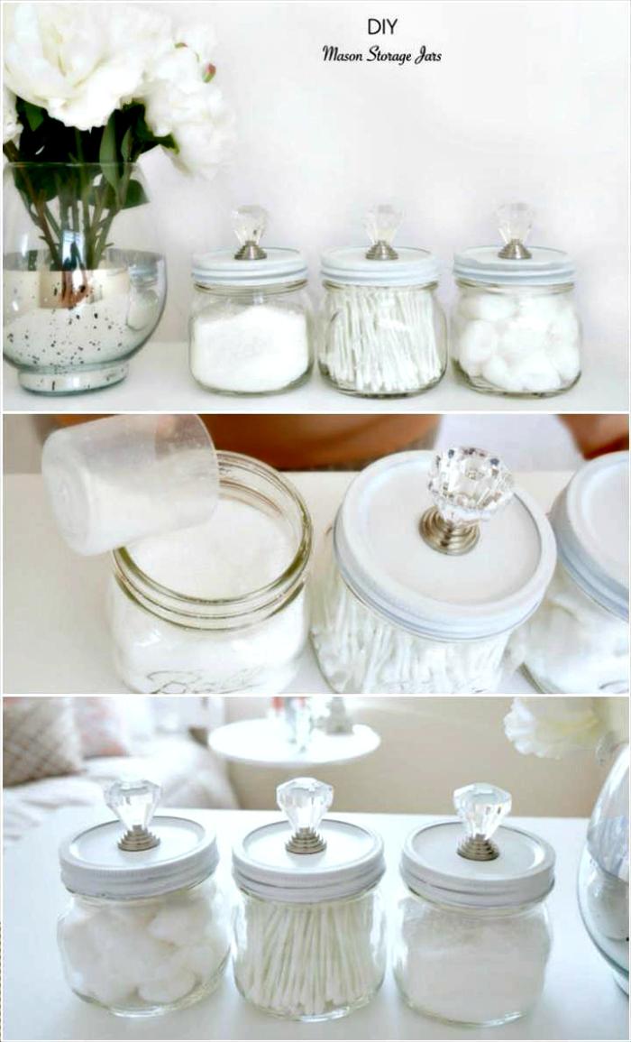 Upcycled Mason Jars into Cool Storage Jars