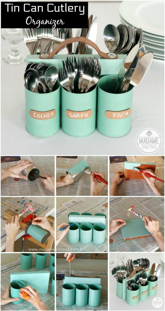 Tin Can Cutlery Organizer