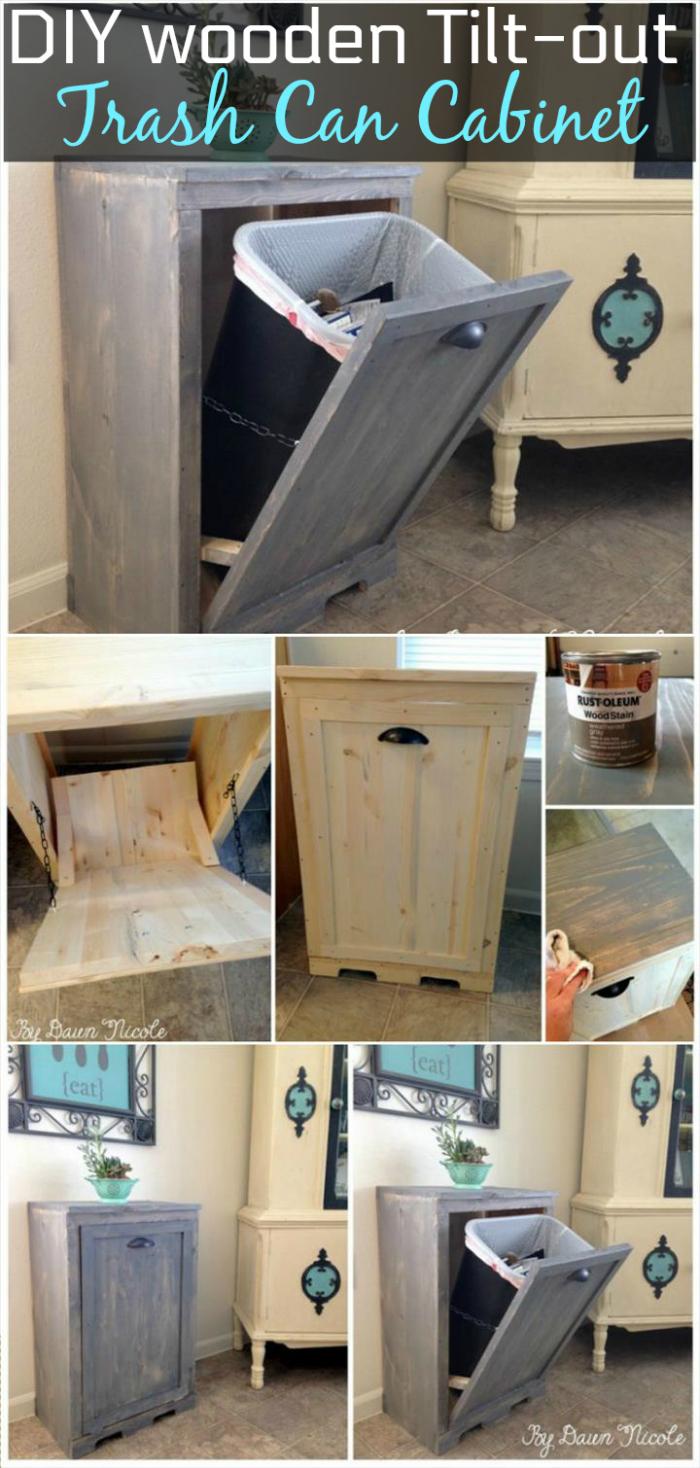 Hand-built wooden Tilt-out Trash Can Cabinet