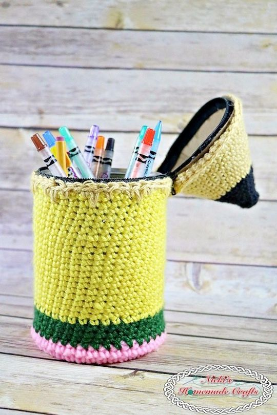 Pencil Holder Free Crochet Pattern