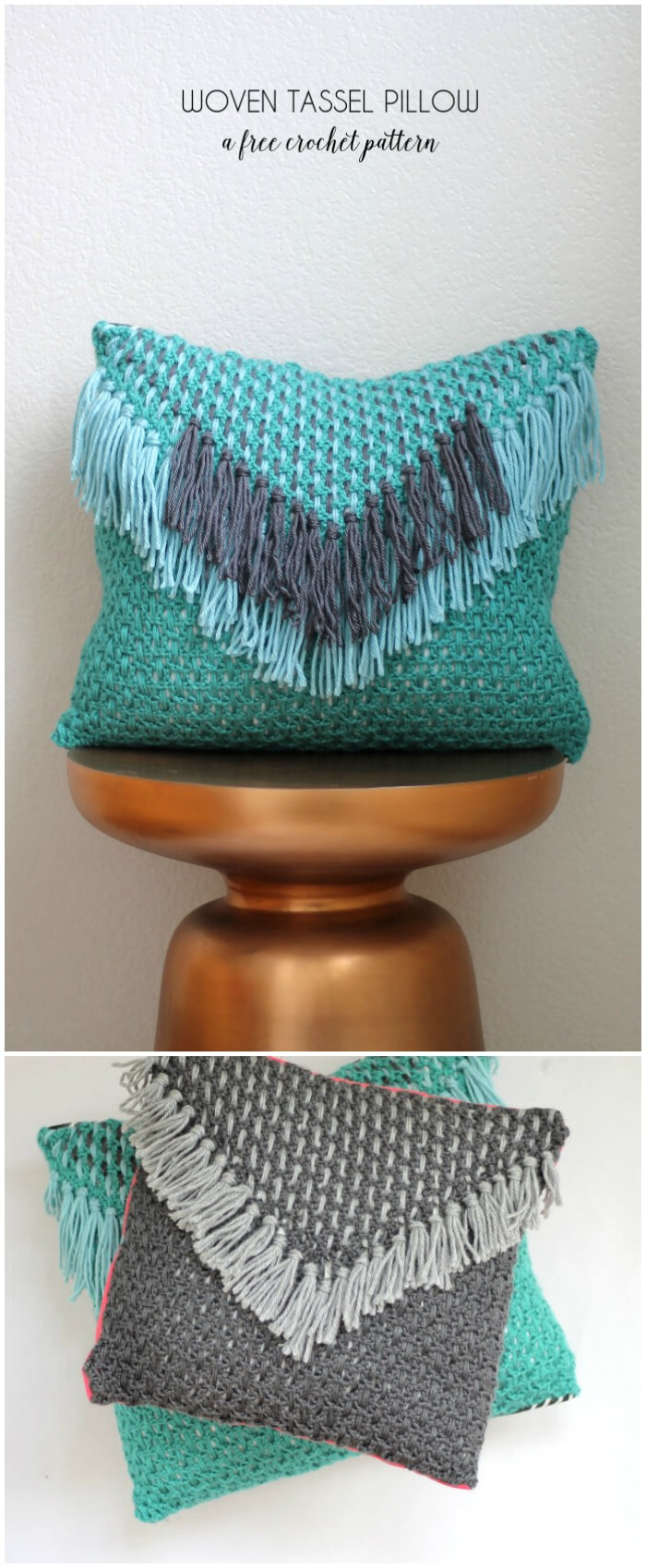 Tassel Pillow woven crochet Pattern