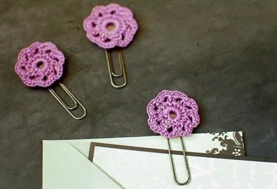 Crochet Flowers Paper Clips