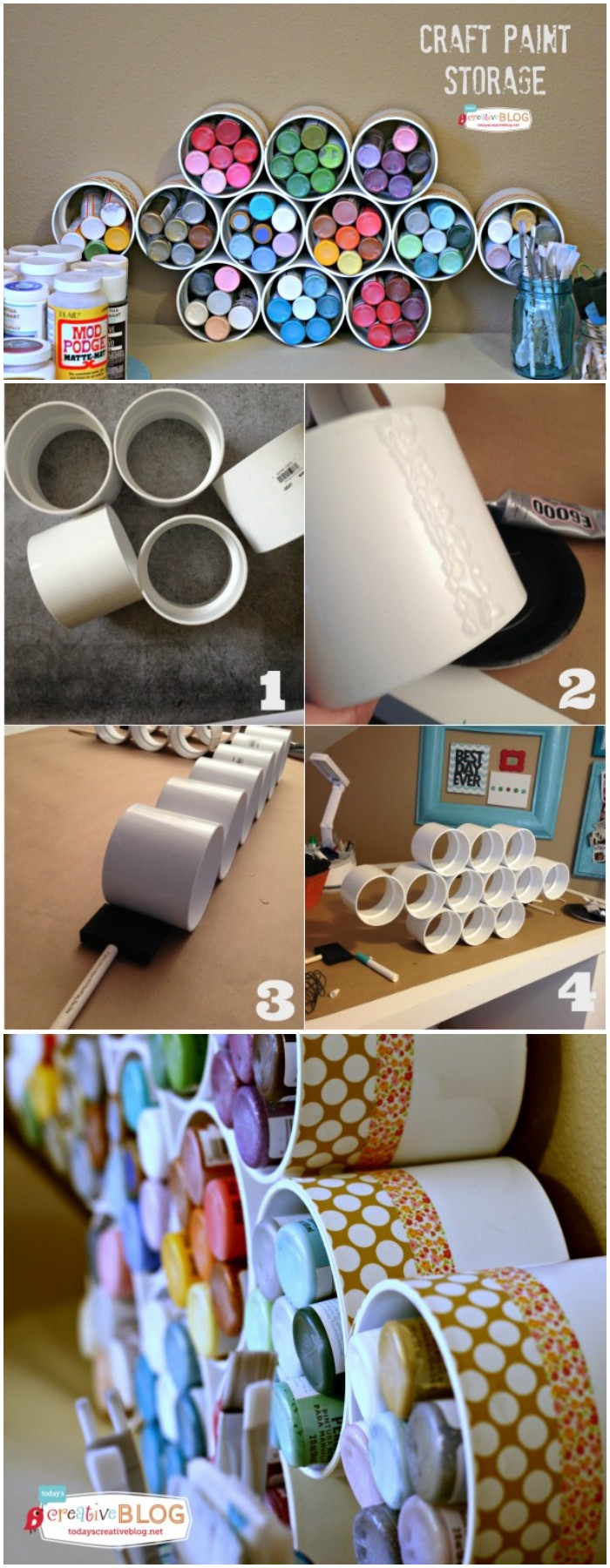 Craft Paint Storage With Pvc Pipe