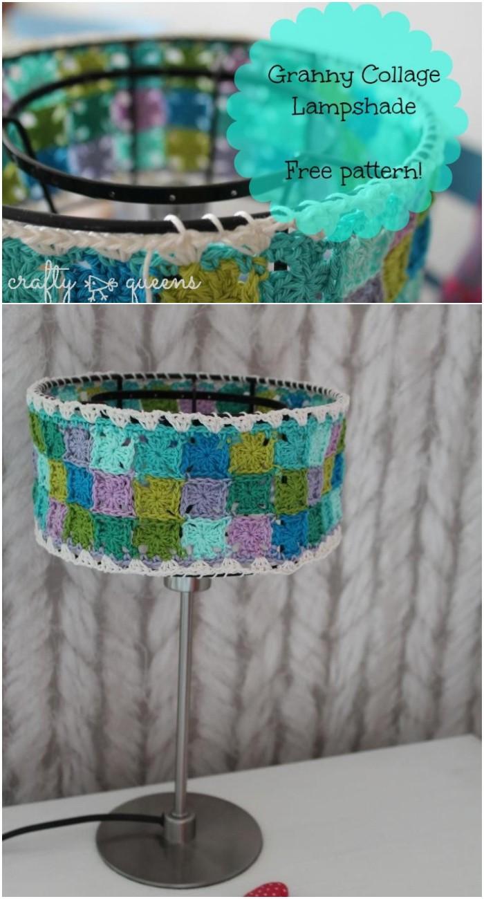 Crochet Granny Square Lamp Shade