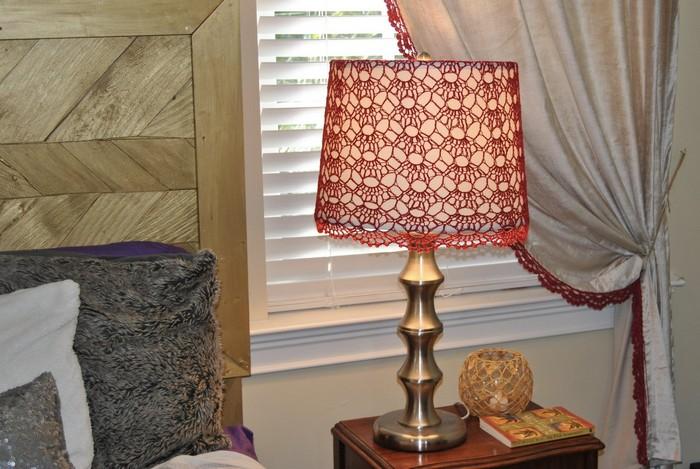 Crochet Red Beaded Lamp Shade