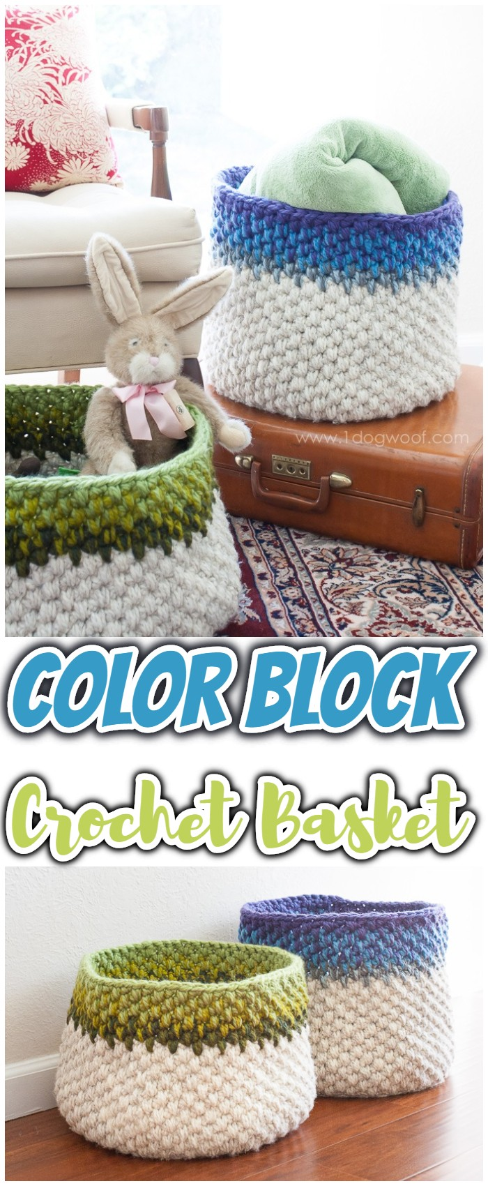 Color Block Crochet Basket