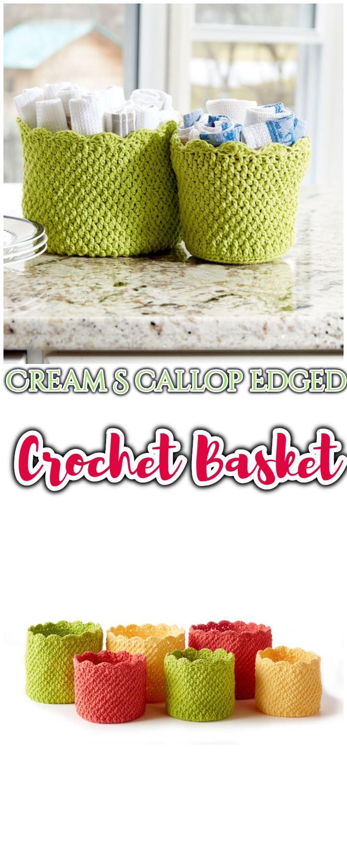 Cream Scallop Edged Crochet Baskets