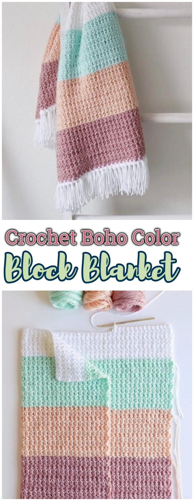 Crochet Boho Color Block Blanket