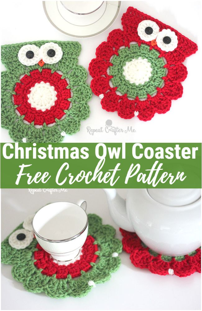 Crochet Christmas Owl Coaster