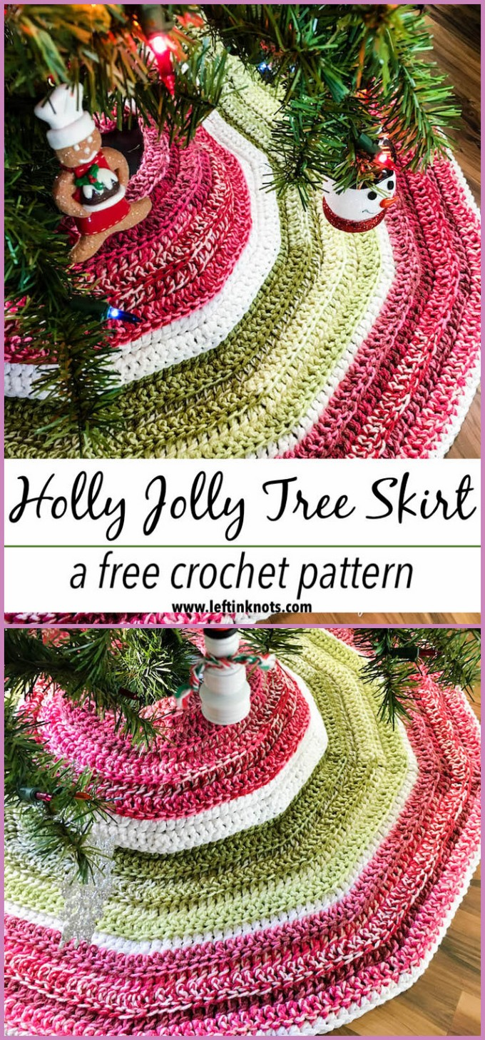 Crochet Holly Jolly Christmas Tree Skirt - Free Pattern