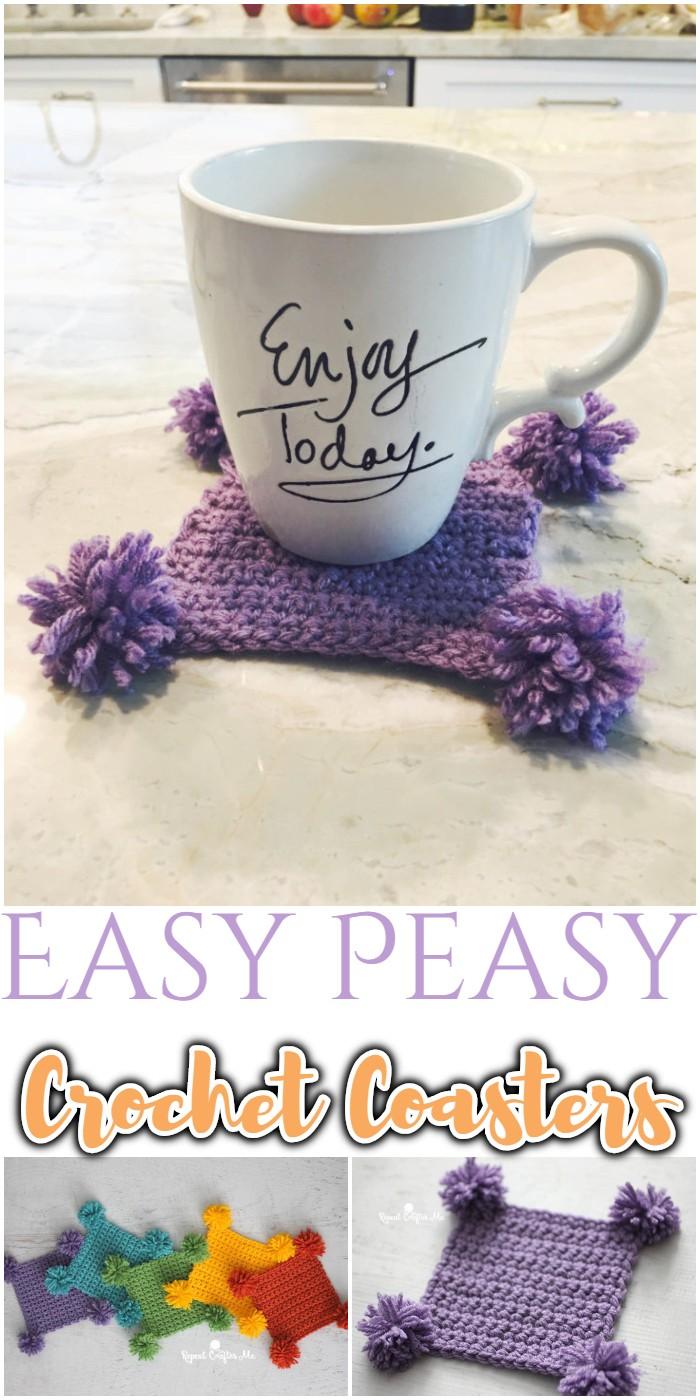 Easy Peasy Pompom Crochet Coasters
