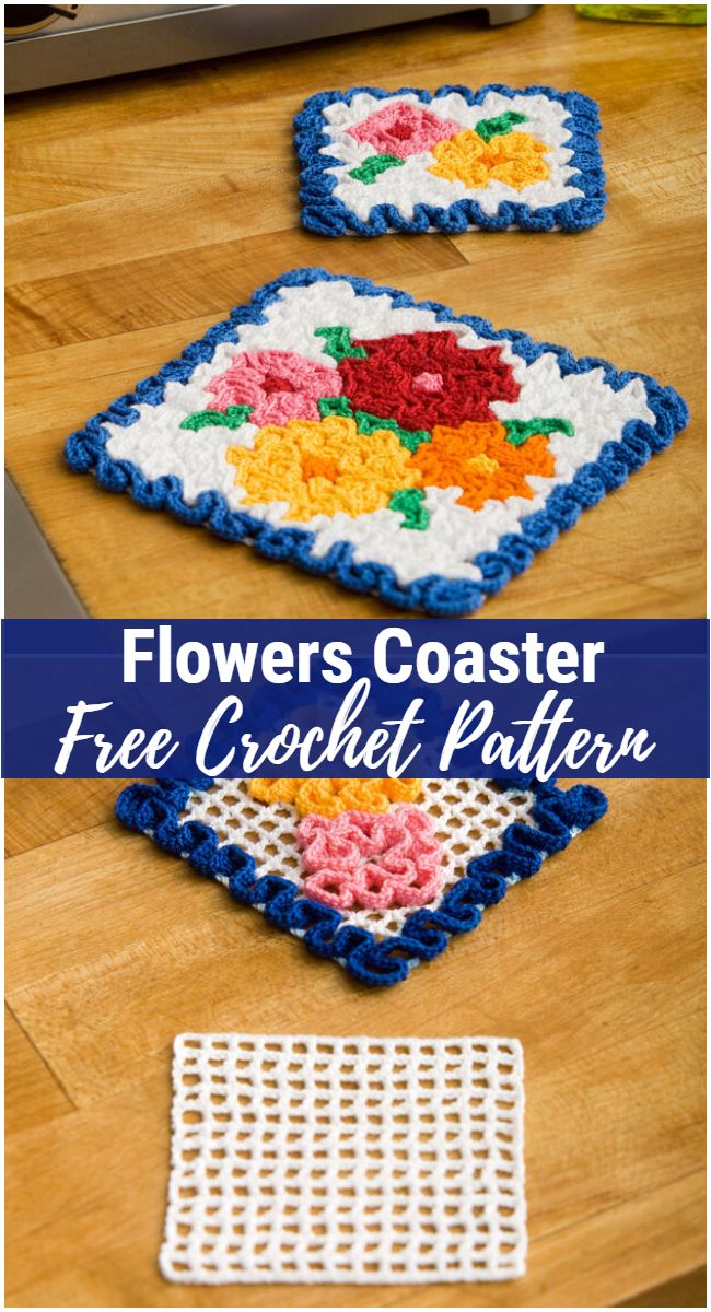 Flowers Coaster Free Crochet Pattern