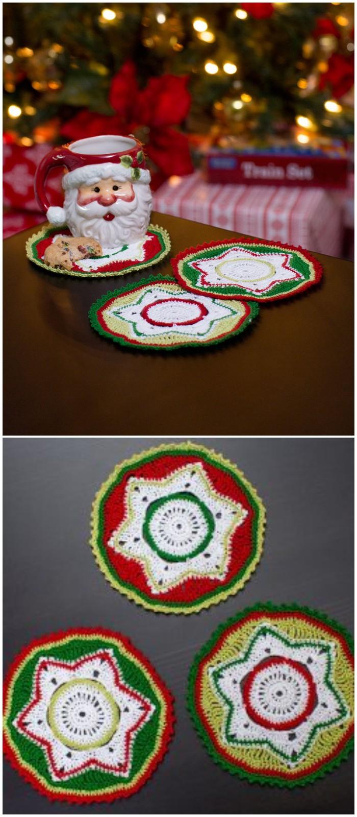Party Doily Crochet Coasters