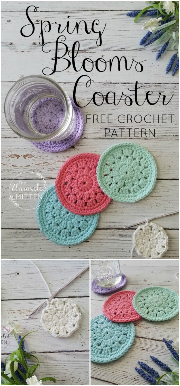 Spring Blooms Crochet Coaster Free Pattern