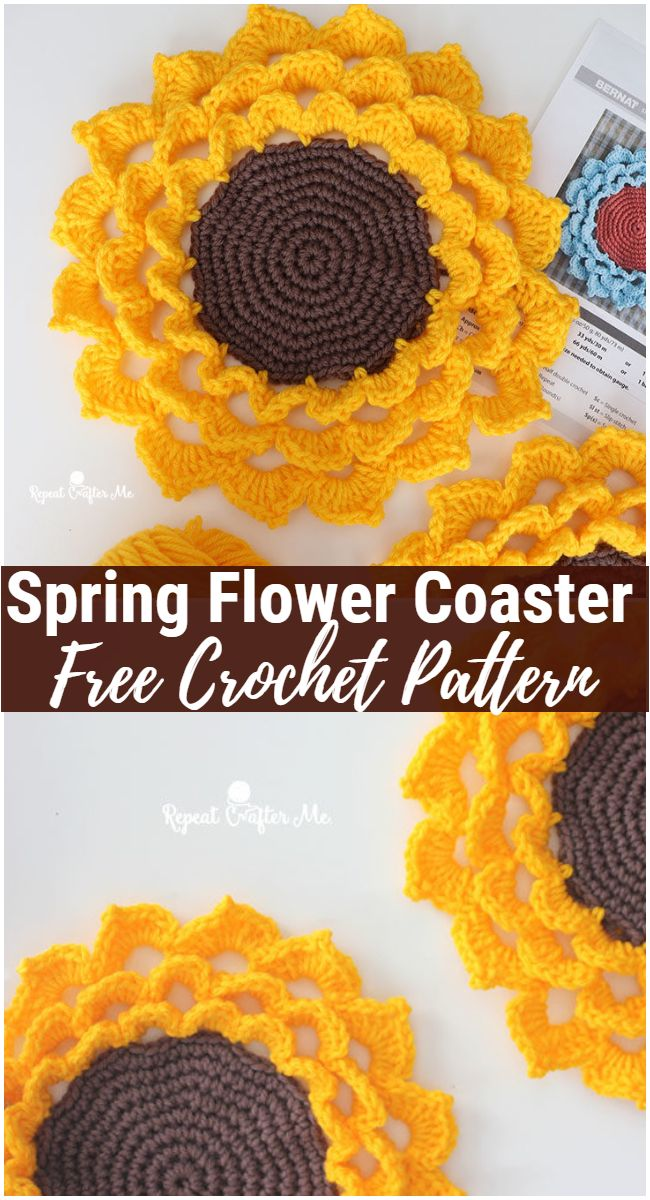 Spring Flower Crochet Coaster