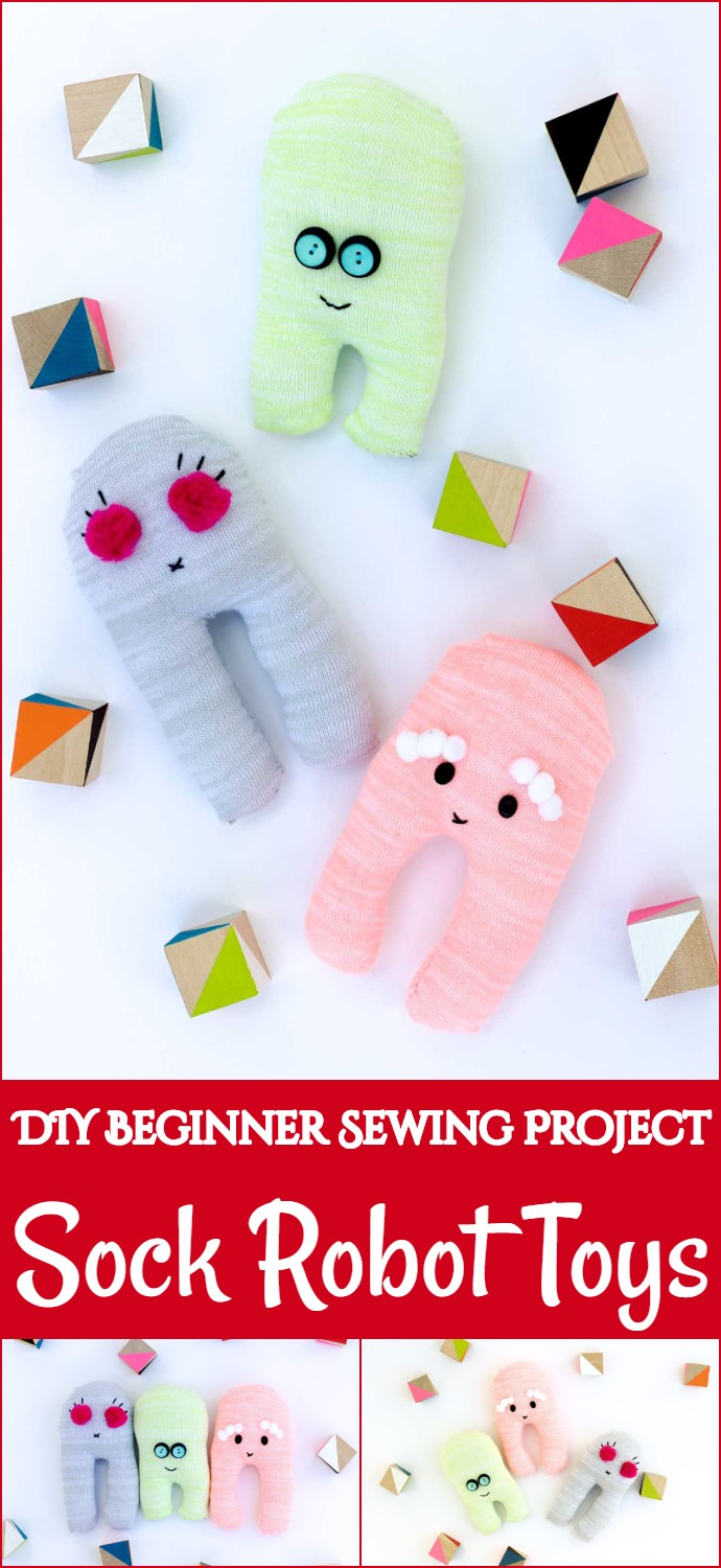 DIY Beginner Sewing Project Sock Robot Toys