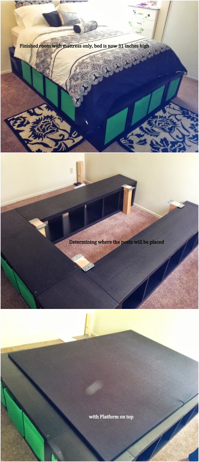 Expedit Queen Platform Bed Storage