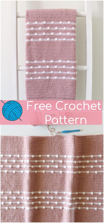 Polka Dot Lines Crochet Baby Blanket