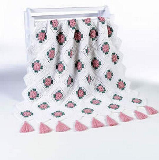 Blush Rose Afghan Blanket Free Crochet Pattern
