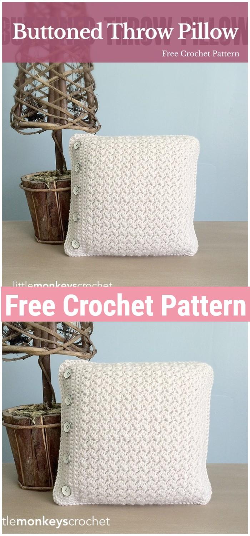 Buttoned Throw Crochet Pillow