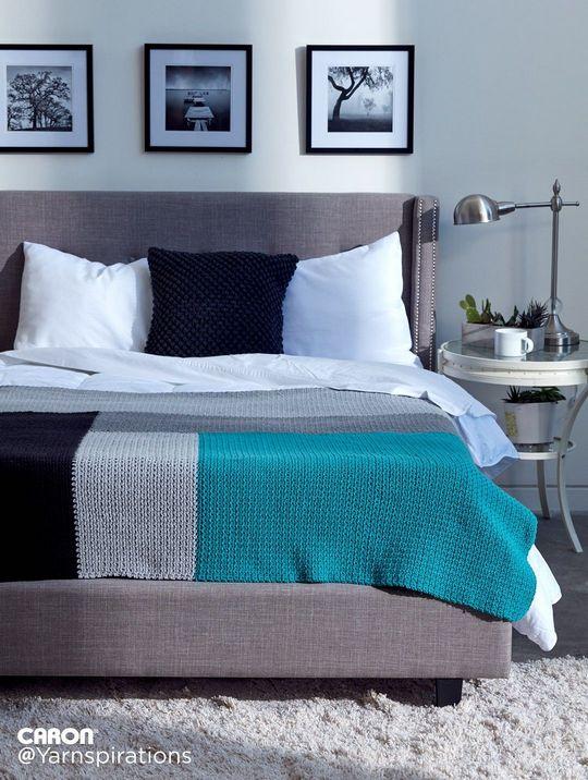 Caron Modern Log Cabin Crochet Blanket