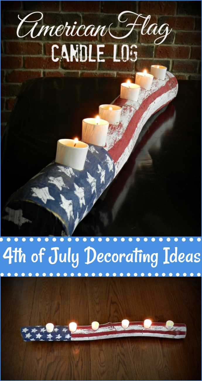 American Flag Log Candle