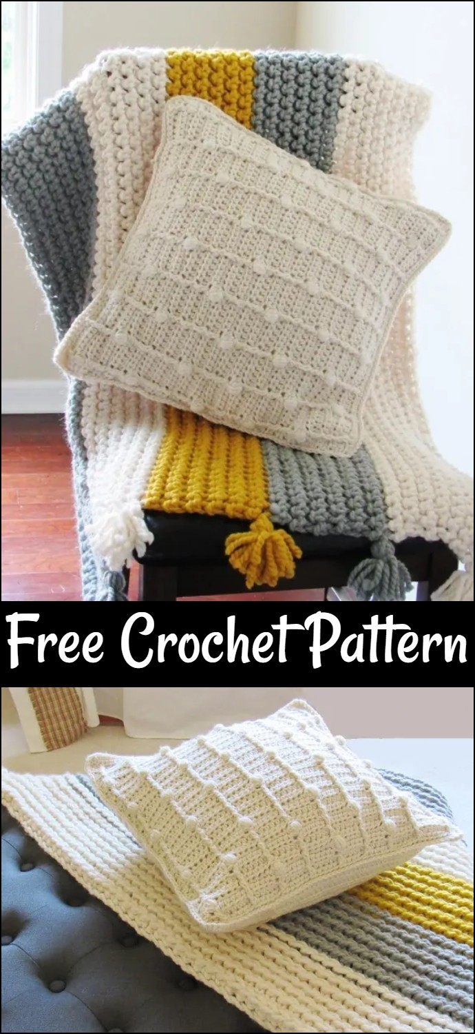 Bobble Throw Pillow Free Crochet Pattern