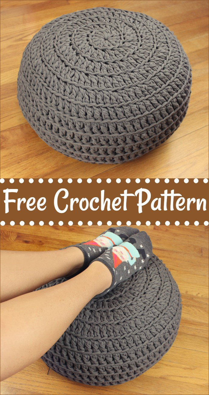 Floor Pillow Pouf Ottoman Free Crochet Pattern