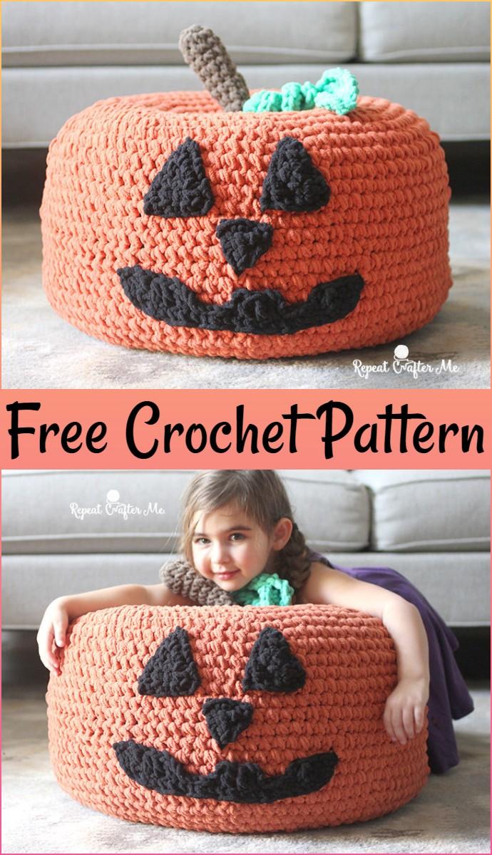 Free Crochet Jack O Lantern Pumpkin Pouf