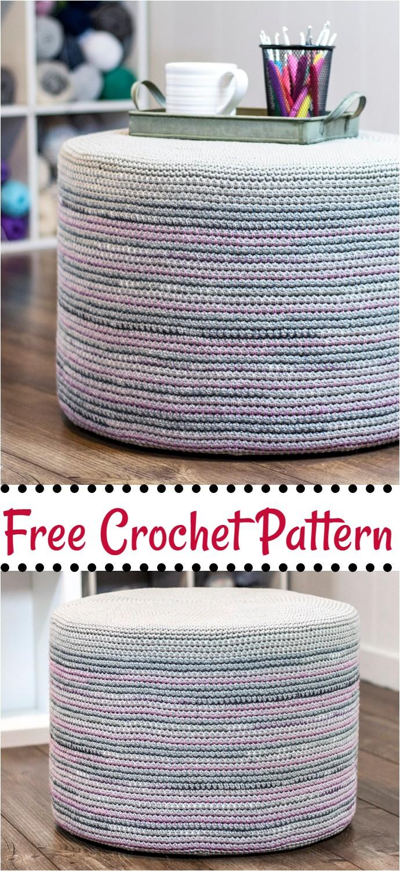 Free Crochet Mosaic Floor Pouf
