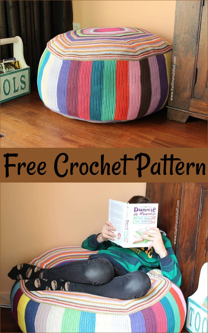 Free Crochet Pouf Of Many Colors