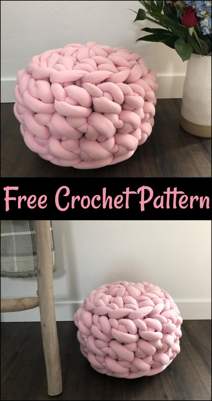 Jumbo Free Crochet Floor Pouf