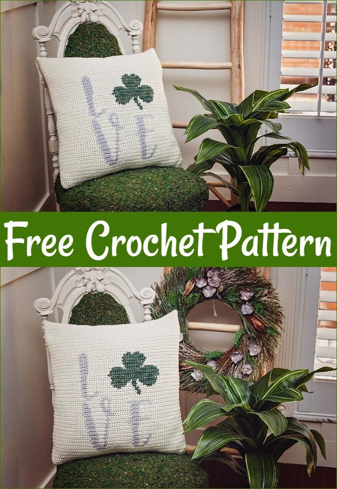 Patrick's Crochet Shamrock Pillow Cover Free Pattern