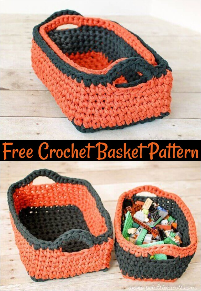 Rectangular Free Crochet Basket Pattern