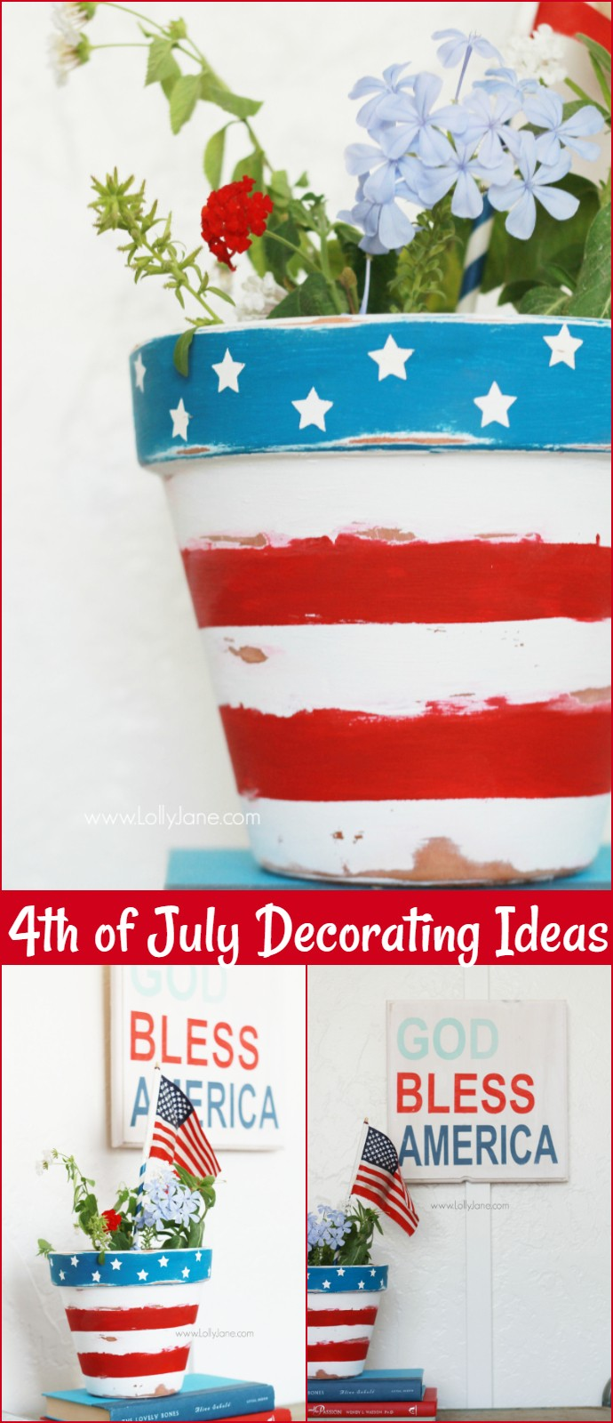 Stars Stripes Patriotic Flower Pot