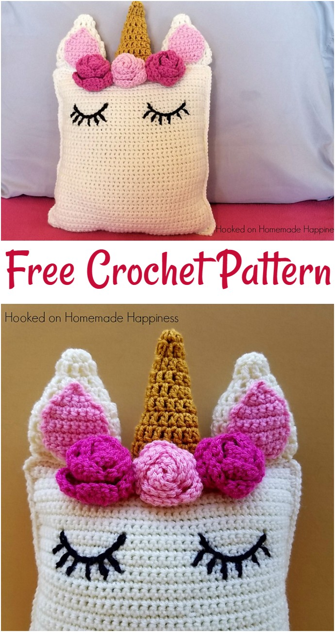 Unicorn Pillow Friend Free Crochet Pattern