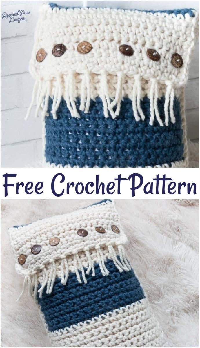 Zaffre Fringe Crochet Throw Pillow