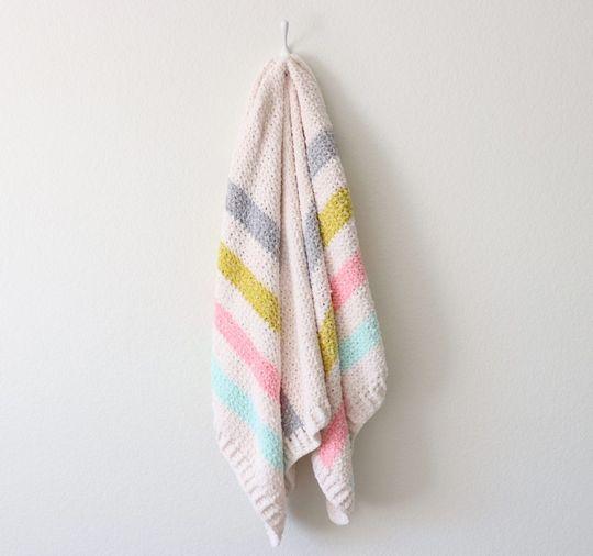 Crochet Unicorn Stripes Baby Blanket