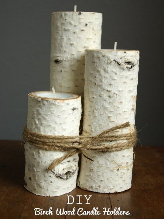 DIY Birchwood Candle Holders
