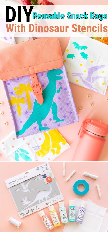 Diy Reusable Snack Bags With Dinosaur Stencils