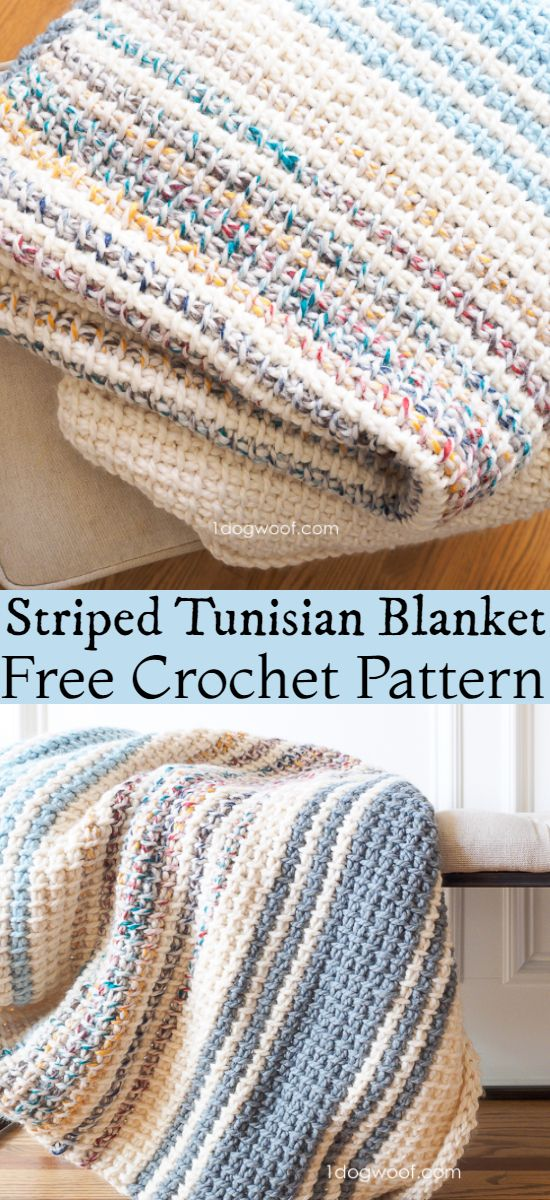 Free Crochet Striped Tunisian Blanket Pattern