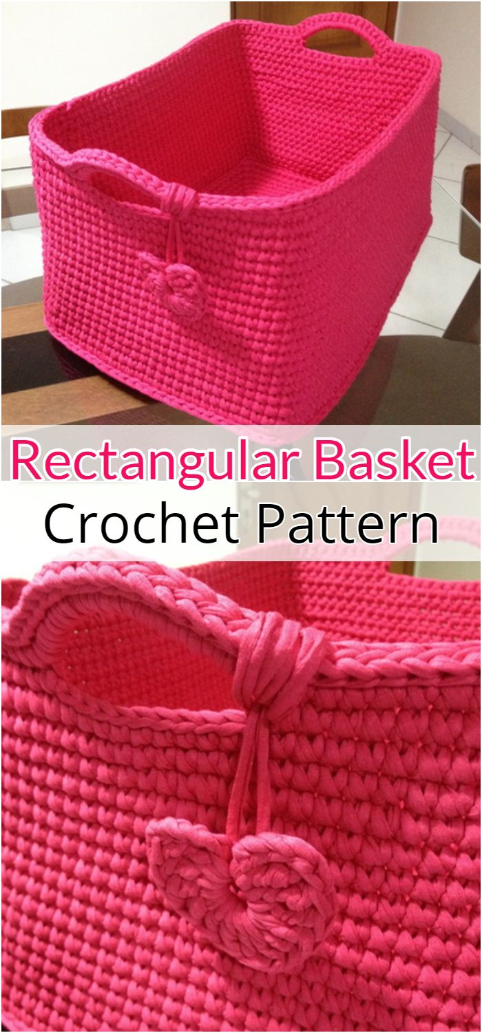 Crochet Rectangular Basket