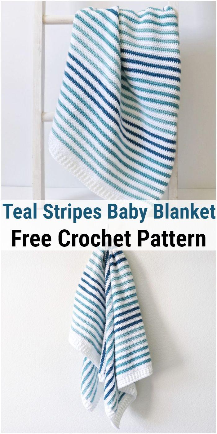 Crochet Teal Stripes Baby Blanket
